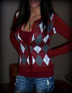 Sexy Argyle Preppy Red White Fabric Button Up Cardigan Cardi Sweater Knit Top LG | eBay