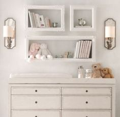 Love these shelves, but want to make DIY version with more boyish/modern frame borders.