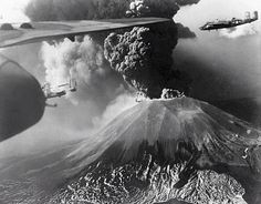 B-25 Mitchell fly past erupting volcano Vesuvius 18-23 March 1944