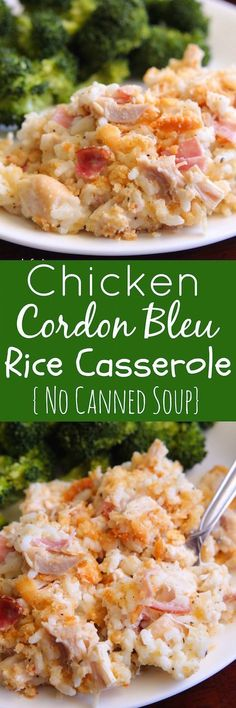 Chicken Cordon Bleu Rice Casserole with a creamy white sauce.