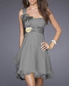 One-shoulder A-line Beaded Short Chiffon Grey Bridesmaid Dress Want the belt to be green and the beads/flowers to match the rest of the dress. Grey Bridesmaids, Grey Bridesmaid Dresses, Homecoming Dresses, Bridesmaid Ideas, Cocktail Bridesmaid Dresses, Bridal Dresses, Dress Wedding, Chiffon Dresses, Cocktail Dresses