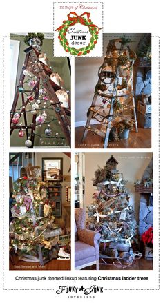 Christmas JUNK Decor, a themed linkup, featuring ladder Christmas trees, via Funky Junk Interiors and 12 Days of Christmas #12daysofchristmas