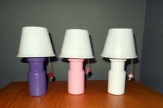"DIY American Girl table lamps!  I made these three lamps out of plastic spice bottles, 9 oz. clear solo cups.  They even light up with a battery-powered tea light candle.  I have a full tutorial on my board:   Fran Loud - - ""DIY Doll Lamp Tutorial."""
