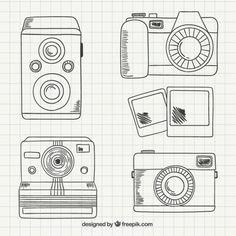 Variedad de cámaras dibujadas a mano Vector Gratis
