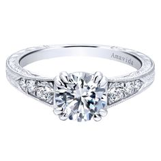 Let it shine bright and sparkle forever! This unforgettable Amavida Platinum Victorian Split Shank Engagement Ring by Gabriel & Co. is perfection in one piece. Check out more views and details by clicking the link.