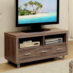 Dark Taupe Reclaimed-look 48-inch TV Console with 3 Drawers