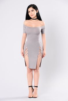 - Available in Taupe - Off the Shoulder - Lace Up Front Detail - Front Slits - Ribbed - 96% Rayon, 4% Spandex