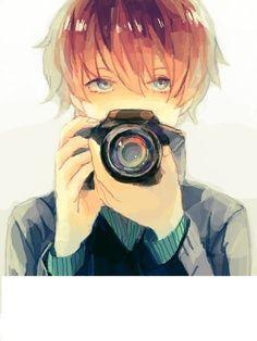 cute anime boy photgrapher