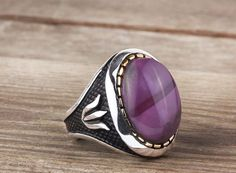 925K Sterling Silver Gemstone Man Ring With Purple Tourmaline Stone(All Sizes) #IstanbulJewellery #Statement