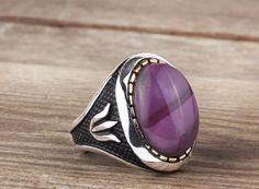 925K Sterling Silver Gemstone Man Ring With Purple Tourmaline Stone(All Sizes) #IstanbulJewellery #Statement