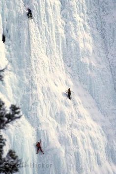 Waterfall Ice Climbing Canada       Ice climbing on a frozen waterfall in Baniff National Park in Canada is a winter activity enjoyed by many people.