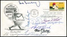 1969 HOFER MULTIPLE-SIGNED FIRST DAY COVER w/ DEAN, WILLIAMS, GREENBERG First Day Cover commemorating 100 years of professional baseball