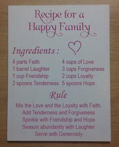 Tekstbord Recipe for a happy family