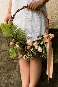 roses, greenery and fern hoop wedding bouquet with ribbon