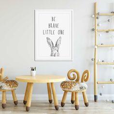 Be brave little one print with hand drawn rabbit - nursery wall art. #rabbit #rabbitprint #handdrawn #nurserywallart #bebrave #nursery #babygift