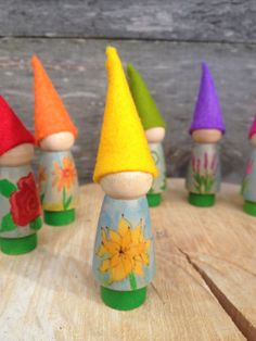 Dahlia gnome from Flower Gnomes Collection, handmade wooden children's toy, Waldorf Inspired, Spring nature table, handmade wool felt toy