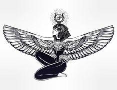 tatouage egypt: diety égyptienne Isis avec des ailes outstratched. Isis est la déesse de la santé, de la magie, et de l'amour. Dans la religion mésopotamienne son nom est Tiamat. Spiritualité, occultisme, l'art du tatouage. Isolated illustration vectorielle.