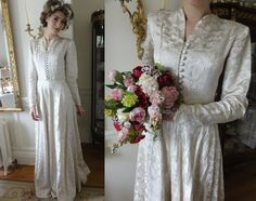 Gorgeous Original late 1940's Wedding Dress with Button Front