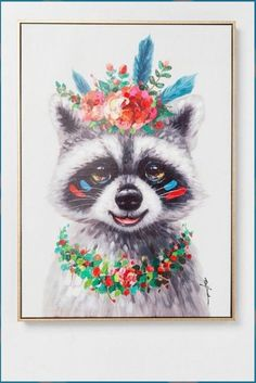 KARE Wandbild 72 x 52 cm Flowers Raccoon 61553 Bunt Easy People Drawings, Drawing People, Easy Drawings, Doodle Pictures, Pictures To Draw, Illustration Art Drawing, Graphic Illustration, Illustrations, Home Bild