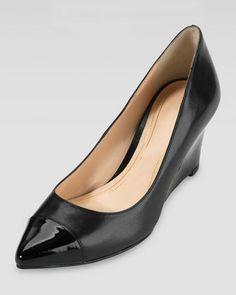 Work Wardrobe Update: Cole Haan Chelsea Matte -Patent Black Pointy Toe Wedge - Neiman Marcus