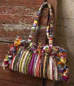 Bag from recycled fabric scraps.