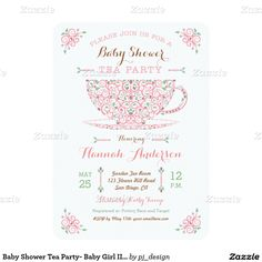"Baby Shower Tea Party- Baby Girl II Invitation 4.5"" X 6.25"" Invitation Card"