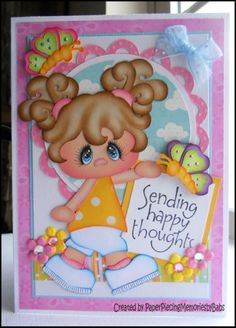 """""""Happy Thoughts"""" Greeting card created by Paper Piecing Memories by Babs Cute Cards, Diy Cards, Foam Crafts, Paper Crafts, Doodle Characters, Paper Piecing Patterns, Treasure Boxes, Box Design, Scrapbook Cards"""