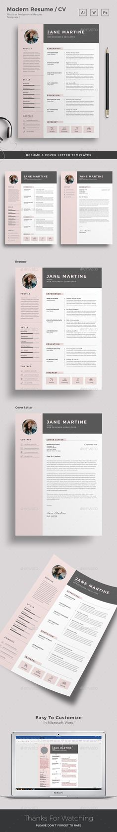 Buy Resume by upra on GraphicRiver. Resume Word Template / CV Template with super clean and modern look. Clean Resume Template page designs are easy to u. Best Resume Template, Resume Design Template, Cv Template, Resume Skills, Job Resume, Photographer Resume, Cv Inspiration, Infographic Resume, Resume Words