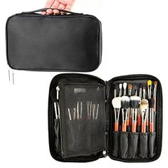 Travelmall Professional Cosmetic Makeup Brush organizer Makeup Artist case with Belt Strap Holder Multifunctional Cosmetic Makeup Bag Handbag for Travel & Home (Black) *** Click image for more details.