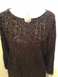 COLDWATER CREEK Womens Black Velvet Burnout Sequin Knit Stretch Top Size Medium