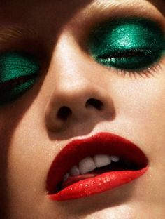 Pair this Emerald green eye with Raging Red Light Up Lip Gloss from Pure Illumination by The Lano Company...
