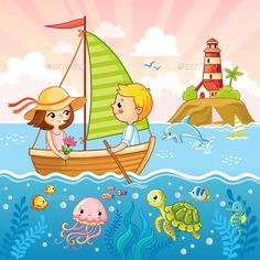 Buy Boy and a Girl Are Sailing on a Sailboat by svaga on GraphicRiver. Boy and a girl are sailing on a sailboat by the sea. Vector illustration with children and sea animals. Art Drawings For Kids, Drawing For Kids, Cute Drawings, Art For Kids, Baby Set, Cartoon Sea Animals, Sailboat Art, Picture Composition, Birthday Clipart