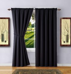 Warm Home Designs 1 Pair of 2 Short Size x Black Room Darkening Curtains with 2 Free Matching Tie-Backs. Total Width Save by Buying Blackout Pairs Instead of Single Panels. E Black 63 For Sale Navy Blue Rooms, Black Rooms, Oversized Furniture, Black Curtains, Room Darkening Curtains, Curtains For Sale, Cool Apartments, Rugs In Living Room, Home Decor Styles
