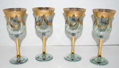 sale Vintage  elegant  green and gold wine glasses by capecodgypsy, $70.00