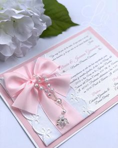 12 baptism or first communion invitations Embellished with rosary of pearls, embroidered cotton fabric and satin bow of any color combination you prefer. Includes envelopes for mailing. Mickey Invitations, Baptism Invitations Girl, Quince Invitations, First Communion Invitations, Birthday Party Invitations, Wedding Invitations, Faire Part Communion, First Holy Communion, Baptism Party Decorations