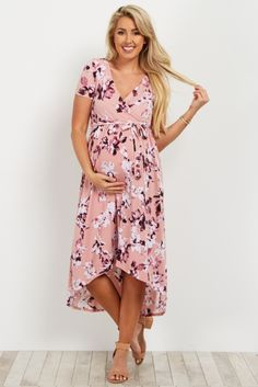 This Light Pink Floral Maternity/Nursing Hi-Low Wrap Dress is perfect! Stylish Maternity, Maternity Wear, Maternity Fashion, Maternity Dresses, Maternity Nursing, Maternity Style, Shower Outfits, Baby Shower Dresses, Pregnancy Outfits
