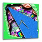 Layers of Red, Purple, Green and Blue in Many Shapes and Textures with Little Floating Squares Wall Clock