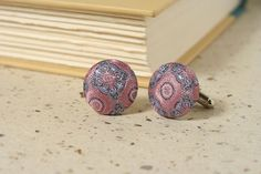 PINK SILK CUFF LINKS - Perfect for a romantic wedding - handmade from an upcycled men's necktie - beautiful brocade silk fabric - by Sea of Possibilities @ www.seaofpossibilities.com
