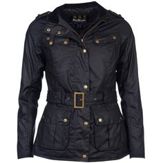 Barbour International Goldwing Waxed Jacket, Black ($285) ❤ liked on Polyvore featuring outerwear, jackets, long sleeve jacket, short jacket, barbour international, barbour international jacket and waxed jackets