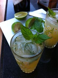 Victorian mojito: bash fresh mint with a little sugar, add a measure of gin, ice, apple juice, a squeeze of lime and top with a little soda