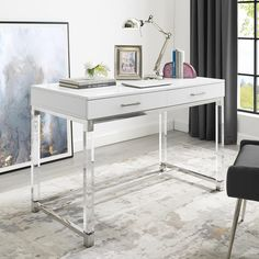 Inspired Home Casandra High Gloss Desk with Acrylic Legs and Metal Base - White White Writing Desk, Writing Desk With Drawers, White Desk With Drawers, White Vanity Desk, White Desks, Home Office White Desk, Modern White Desk, Small Office, Bedroom Desk