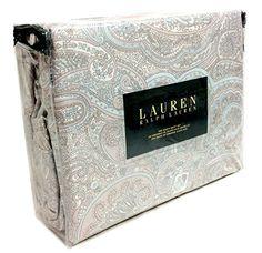 Ralph Lauren 4 Piece Queen or King Sheet Set Taupe Grey Paisley on White Boteh Pattern (King) RALPH LAUREN http://www.amazon.com/dp/B00WERGHFY/ref=cm_sw_r_pi_dp_TScrvb16V1002