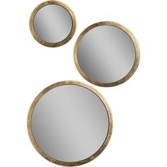 Carolyn Modern Classic Gold Trim Spherical Mirror Set ($619) ❤ liked on Polyvore featuring home, home decor, contemporary home decor and contemporary home accessories