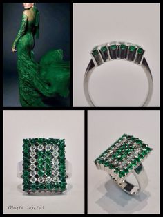 White gold ring with diamonds and emeralds Sortija de oro blanco con diamantes y esmeraldas White Gold Rings, Diamond, Jewelry, White Gold, Jewelry Box, Emerald, Diamonds, Jewellery Making, White Gold Wedding Rings
