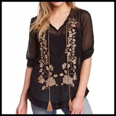 "Sheer Embroidered Tunic Description: - Split neck with self tie closure - Elbow length sleeves - Embroidered detail - Sheer; unlined - Approx. 27"" length  Fiber Content: 100% polyester Fit: this style fits true to size.   Model's stats for sizing: - Height: 5'8"" - Bust: 34"" - Waist: 24"" - Hips: 35"" Model is wearing size S. Nostalgia/ Nordstrom Tops"