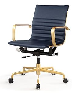 MEELANO 348-GD-NVY Office Chair in Vegan Leather, Gold/Navy Blue ❤ MEELANO