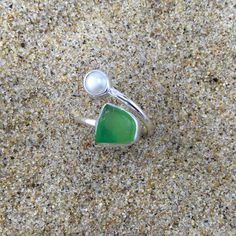 Green Sea Glass and Pearl Wrap Around Ring