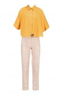 Tangerine Orange Button Down Shirt with Flaps #houseofsohn #shopnow #ppus #happyshopping