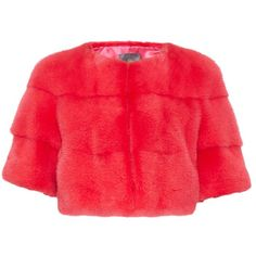 Lilly E Violetta Sarah mink-fur cropped jacket ($2,268) ❤ liked on Polyvore featuring outerwear, jackets, red cropped jacket, cropped jacket, red jacket, mink fur jacket and summer jacket