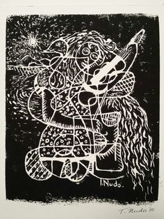 T.Nudo Prints / Round Cubism / linocut print-handpressed on watercolor paper